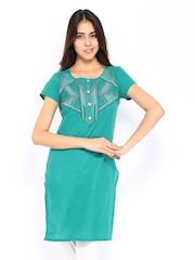 Aurelia Women Blue Embroidered Kurta