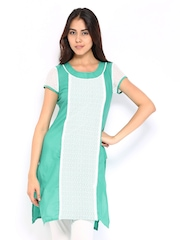 Aurelia Women Green & White Lace Kurta