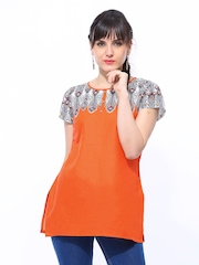 Aurelia Women Orange Printed Kurti