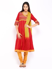 Aurelia Women Red & Mustard Yellow Anarkali Churidar Kurta with Dupatta