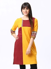 Aurelia Women Yellow & Maroon Kurta