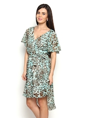 Avirate Blue & Brown Printed Fit & Flare Dress