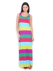 Avirate Multi-Coloured Striped Maxi Dress