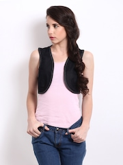 Avirate Women Black Denim Bolero Waistcoat