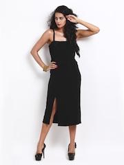 Avirate Solid Black Midi Formal Dress