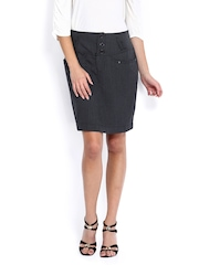Avirate Charcoal Grey Pencil Skirt