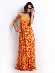 Avirate Yellow & Red Printed Maxi Dress