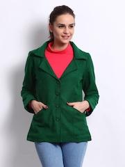 Ayaana Women Green & Black Coat