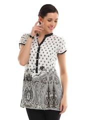 Ayaany Women Off White & Black Floral Print Tunic
