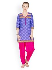 Ayaany Women Blue & Pink Printed Patiala & Kurta