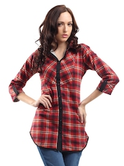 Ayaany Women Red Checked Tunic