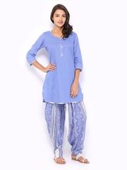 Ayaany Women Blue & White Printed Patiala Kurta Set