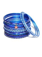 Ayesha Blue Glitter Set Of Bangles