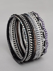 Ayesha Women Black and Silver Bangle Set