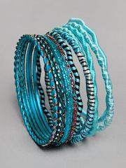 Ayesha Women Turquoise Blue Bangle Set