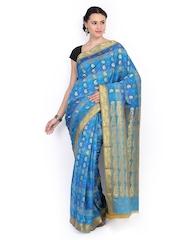 Azcarya Blue Art Silk Traditional Saree