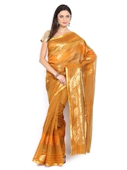 Azcarya Mustard Brown Art Silk Traditional Saree