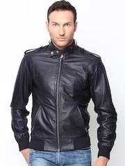 Bareskin Men Navy Leather Jacket