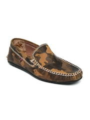 BASE ONE ONE Men Brown Camouflage Print Leather Loafers