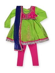 BIBA Girls Green & Pink Anarkali Churidar Kurta with Dupatta