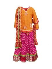 BIBA Girls Mustard Yellow & Pink Lehenga Choli Set