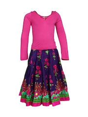 BIBA Girls Pink & Purple Printed Lehenga Choli