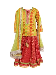 BIBA Girls Mustard Yellow & Red Embroidered Lehenga Choli