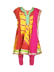 BIBA Girls Orange & Pink Churidar Kurta With Dupatta