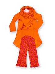 BIBA Girls Orange & Pink Salwar Kurta with Scarf