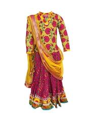 BIBA Girls Pink & Green Printed Lehenga Choli Set