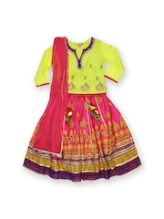 BIBA Girls Lime Green & Pink Lehenga Choli with Dupatta
