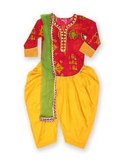 Girls Pink & Yellow Printed Salwar Suit With Dupatta Biba