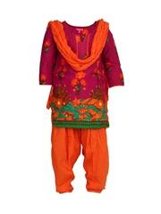BIBA Girls Pink Printed Salwar Suit