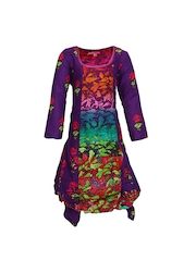 BIBA Girls Purple & Pink Printed Kurta