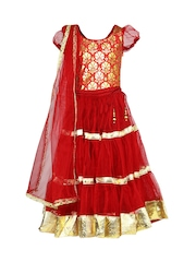 BIBA Girls Red & Gold Toned Lehenga Choli Set