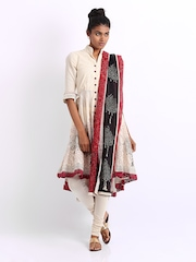 BIBA Women Beige Embroidered Churidar Kurta with Dupatta