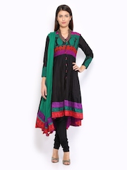 BIBA Women Black Anarkali Churidar Kurta with Dupatta