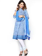BIBA OUTLET Women Blue & White Printed Anarkali Churidar Kurta with Dupatta