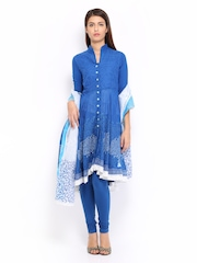 BIBA Women Blue Anarkali Churidar Kurta with Dupatta