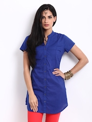 BIBA Women Blue Pin Tuck Kurti