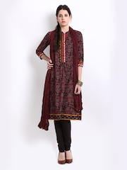 BIBA Women Coffee Brown & Maroon Floral Print Churidar Kurta Set