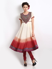 BIBA Women Cream & Red Embroidered Anarkali Kurta