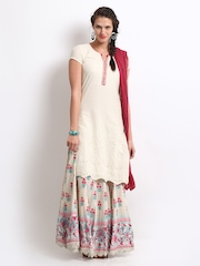 BIBA Women Off-White & Pink Skirt & Anarkali Kurta Set