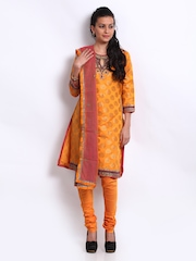 BIBA Women Orange Embroidered Salwar Suit