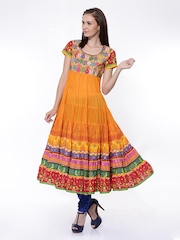 BIBA Women Orange Printed Anarkali Kurta