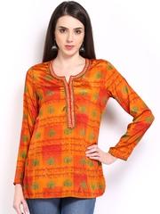 BIBA Women Orange Printed Kurti