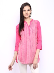 BIBA Women Pink Embroidered Kurti