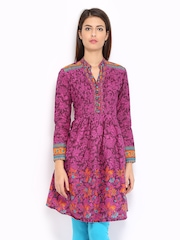 BIBA Women Purple Printed Kurta