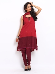 BIBA Women Red Churidar Kurta Set