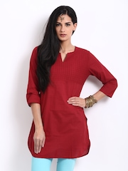 BIBA Women Red Pin Tuck Kurti